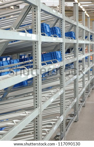 The image of shelves in the industrial warehouse