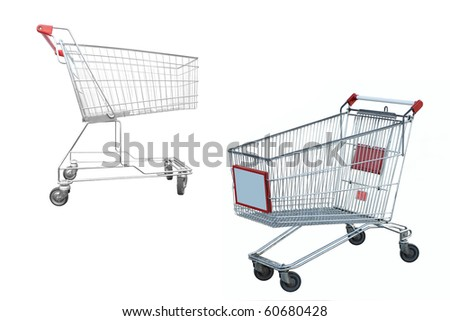 The image of shopping trolley under the white background