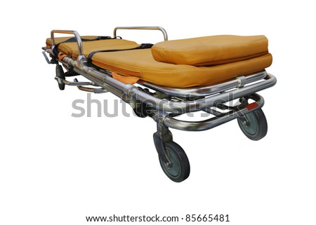 The image of stretcher under the white background. Focus is under front part of stretcher