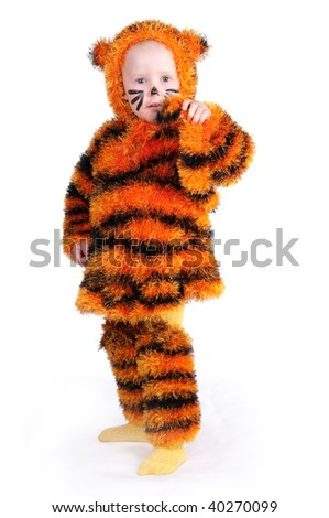 The image of the girl in a suit of a tiger