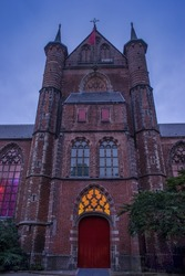 The image of The Pieterskerk, a late-Gothic church in Leiden dedicated to Saint Peter. It is known today as the church of the Pilgrim Fathers, Leiden, Netherlands