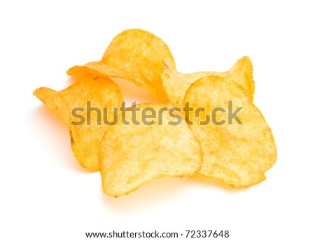 The image of the potato chips isolated on white