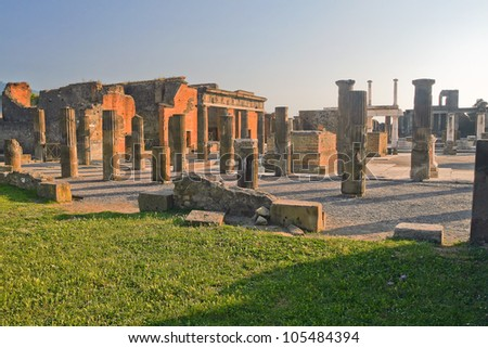 The image of the ruins of ancient Pompeii Forum in a normal summer day. Italy.