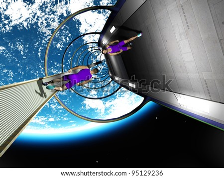 The image of the running person in space