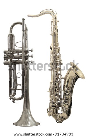 The image of trumpets under the white background
