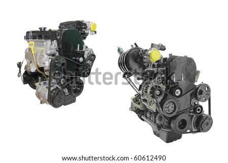 The image of two engines under the white background