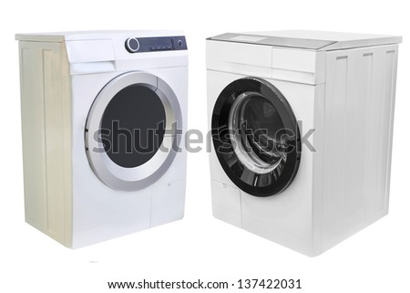 The image of washers under the white background