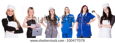 Image of women representatives of different professions stock photo
