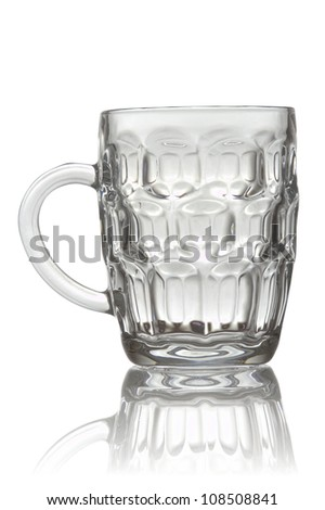 The image shows a beer glass, isolated over white