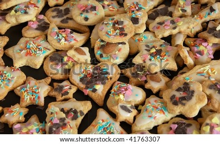 the image shows some tasty christmas cookies - stock photo