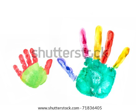 the image shows the imprint of a kids hand and an adults hand