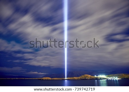 The Imagine Peace Tower on Videy island in Reykjavik #739742719