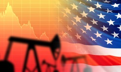 The impact of petrolium prices on the United States. Falling oil price. The fall of the DBO index. Silhouettes of oil rigs on the background of the USA flag. Oil production in America. United States