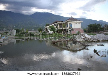the impact of the earthquake, tsunami and liquefaction in Palu, Sigi and Donggala 2018.