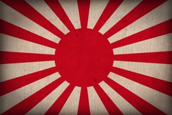 The Imperial Japanese Army flag pattern on the fabric texture ,retro vintage style