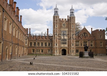 The imposing quadrangle at the historic Eton College, Windsor, Berkshire.  Lupton's Tower in the centre dates from Tudor times.