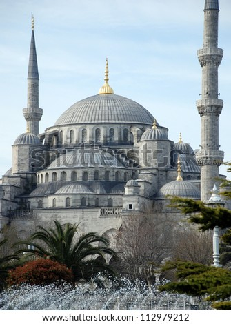 The impressive blue mosque in Istanbul ( Turkey )