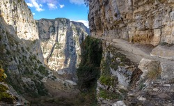 The impressive Vikos gorge in the Zagoria region, Western Greece, the deepest in Europe.