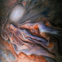 The incredible beauty of Jupiter's atmosphere. Jovian Close Encounter. Jupiter's surface. Elements of image furnished by NASA