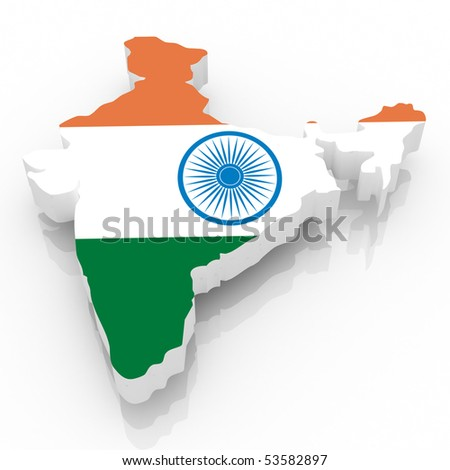 The India country map on a white background. Clipping path included.