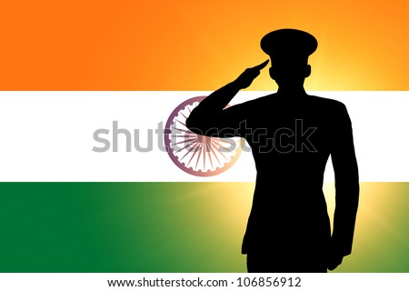 The Indian flag and the silhouette of a soldier's military salute