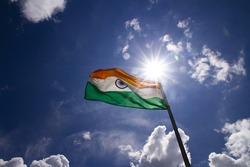 The Indian flag at the Dras War Memorial, Dras, India
