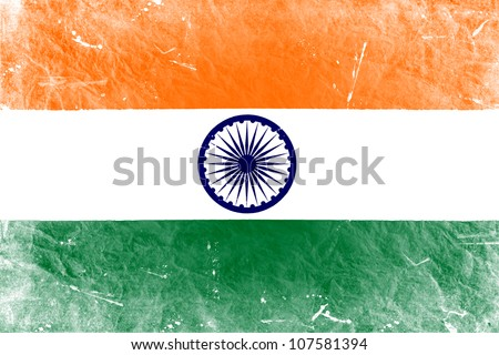 The Indian flag painted in vintage style