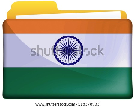 The Indian flag painted on  file folder icon