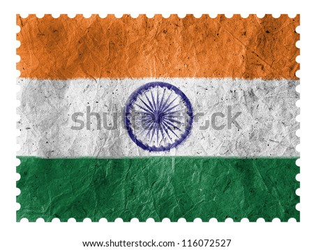 The Indian flag painted on  paper postage  stamp