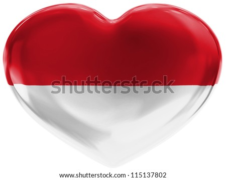 The Indonesian flag painted on 3d heart symbol on white background