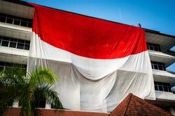 The Indonesian flag raising giant in Yogyakarta