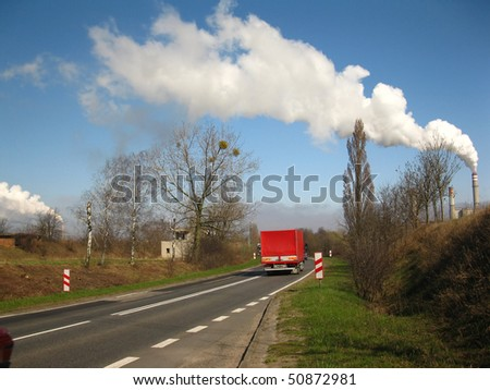 The industrial zone of different sources of emissions, the greenhouse effect