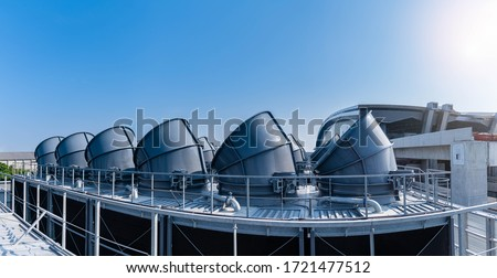 The industry cooling tower air conditioner is water cooling tower air chiller HVAC of large industrial building to control air system. Stock photo ©