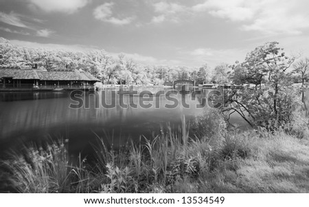 The infrared dreamy scenery  of the Verona Park in New Jersey