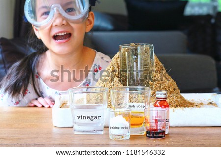 The Ingredients of Volcano experiment, vinegar,dish washing soap,baking soda and food coloring.Kid science experiment of volcano or Baking Soda and Vinegar Volcano Eruption for Kid.Selective focus.
