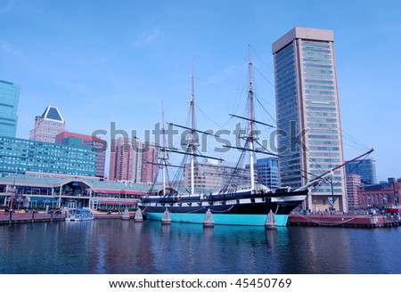 The Inner Harbor area of Baltimore, Maryland is a popular tourist destination.