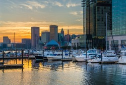 The Inner Harbor at sunset, in Baltimore, Maryland