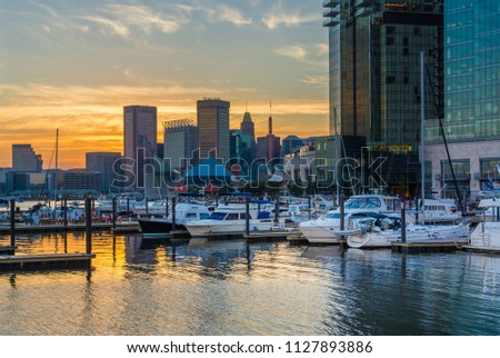 The Inner Harbor at sunset, in Baltimore, Maryland #1127893886
