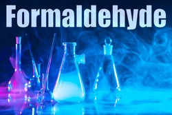The inscription formaldehyde and chemical glass ware. Use of formaldehyde in the production of resins. Production of resins for chipboard and plywood. Carcinogens, toxic substances. Types of gases.