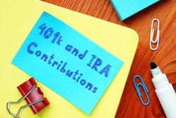 The inscription 401k and IRA Contributions for your blog.