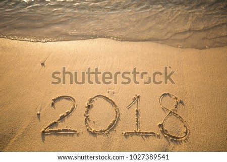 The inscription on the sand in 2018, which washes off a wave. #1027389541