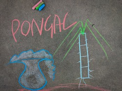 The inscription text on the grey board, Pongal and handdrawn sugarcane, pongal pot. Using color chalk pieces.