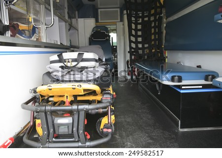 The Inside of a paramedic ambulance with stretcher on it