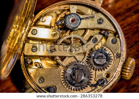 The inside of a vintage gold, Swiss made, females watch