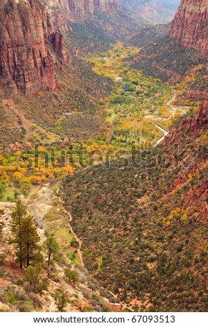 The inside of Zion Canyon National Park, seen from Angels Landing.