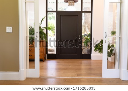 The insides of a house, hallway, closed front door, with hanging lamp and house plants, on a sunny day Stockfoto ©