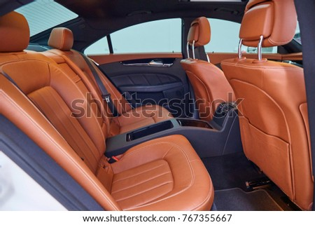 The Interior Decoration Of Luxury Car Dark Brown Color Leather Seat