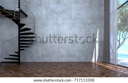 The interior design of empty room and living room and concrete wall texture / 3D rendering new scene new model