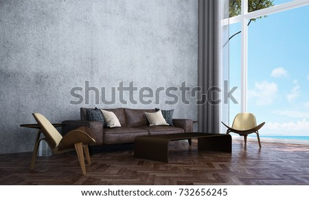 The interior design of lounge and living room and concrete wall texture and sea view / 3D rendering new scene new model