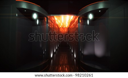 the interior design of Space Corridor for the future technology theme
